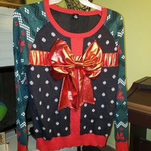 Ugly Christmas Sweater w/big Bow, Size XXL